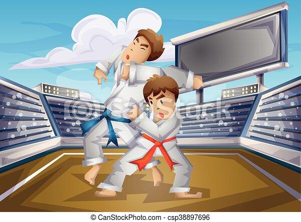 Separato livelli olimpico judo vettore sport cartone animato