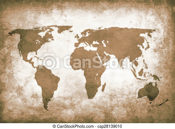 Delightful Sepia Grunge World Map   Csp28139010