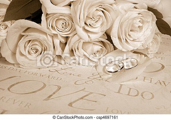 sepia, matrimonio - csp4697161