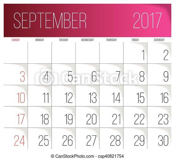 September 2017 Calendar Template Calendar 2017 Vector Design