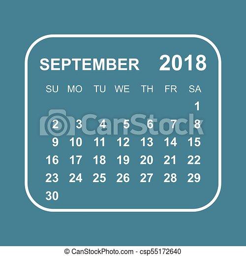 September 2018 calendar  Calendar planner design template  Week starts on  Sunday  Business vector illustration