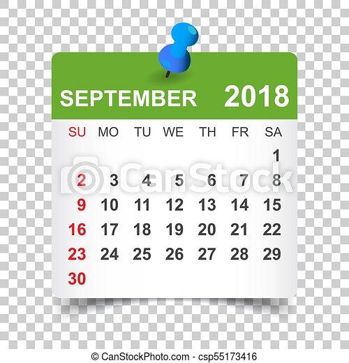 September 2018 calendar  Calendar sticker design template  Week starts on  Sunday  Business vector illustration