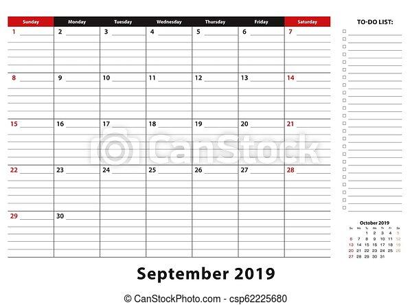 Calendar Planner September 2019.September 2019 Monthly Desk Pad Calendar Week Starts From Sunday Size A3