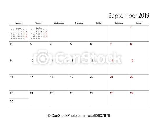 Calendar Planner September 2019.September 2019 Simple Calendar Planner Week Starts From Monday