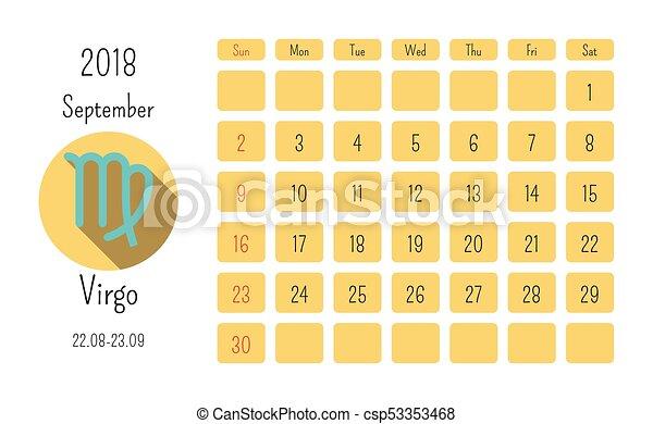 Zodiac Calendar Template | September Calendar 2018 With Horoscope Signs Zodiac Symbols Flat