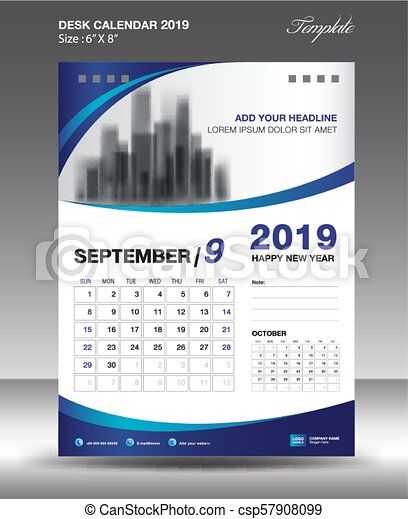 september desk calendar 2019 template flyer design vector