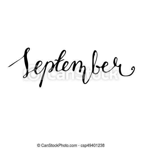 september hand drawn lettering card ink illustration modern brush calligraphy isolated on white background