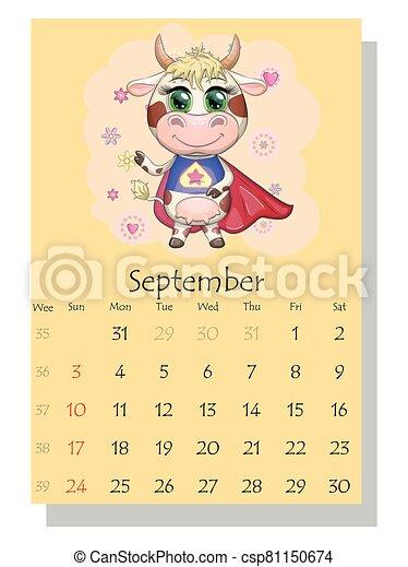 september., lindo, toro, 2021., calendario, vaca - csp81150674
