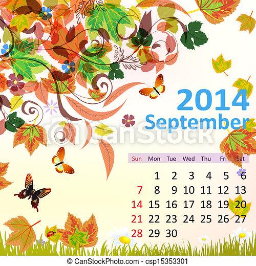 septembre, calendrier, 2014 - csp15353301