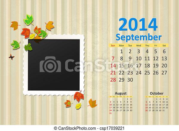 septembre, calendrier, 2014 - csp17039221