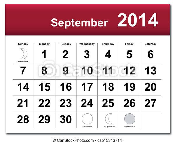 Calendario de septiembre de 2014 - csp15313714