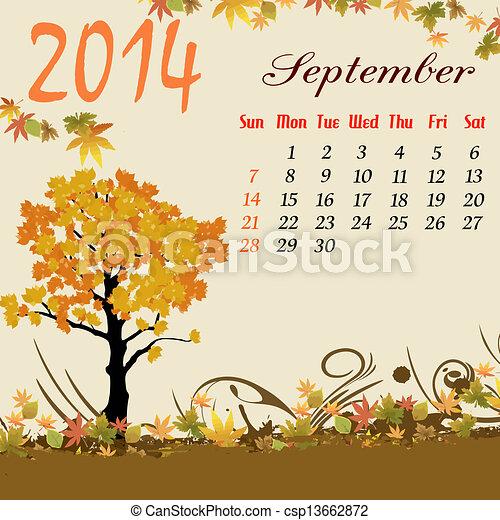Calendario para 2014 de septiembre - csp13662872