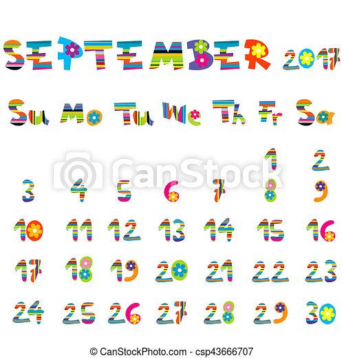 Calendario Dibujo Septiembre.Septiembre 2017 Calendario