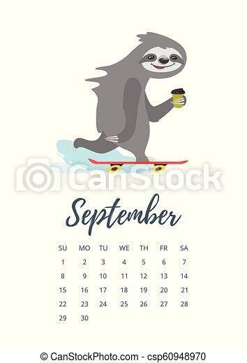 Calendario Dibujo Septiembre.Septiembre Calendario 2019 Pagina Ano