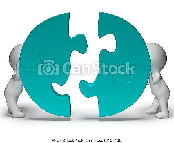 Las piezas de Jigsaw se unen mostrando trabajo en equipo y unión - csp13108406
