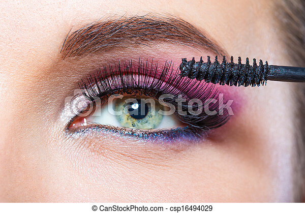 ser aplicable, ojo, arriba, cepillo, hembra, cierre, tiro, rímel - csp16494029
