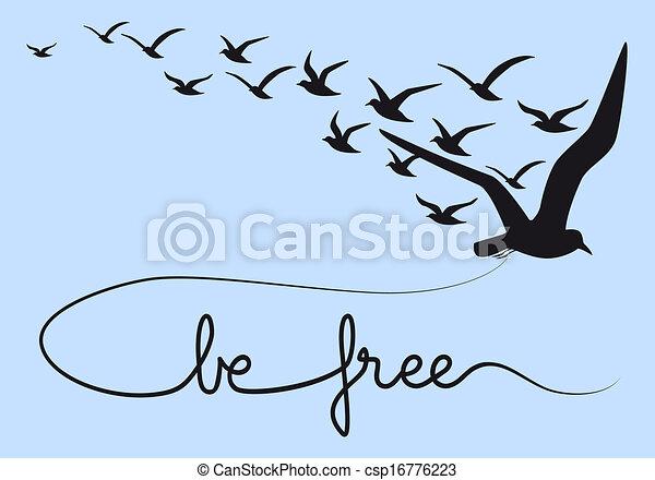Se libre de texto, pájaros voladores, vector - csp16776223