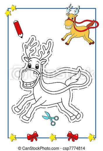 Ser, color del reno, navidad. Color, ser, niños, navidad, página.