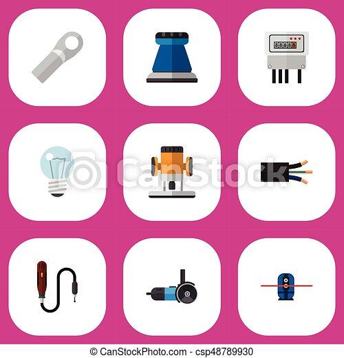 Un set de 9 iconos eléctricos editables. Incluye símbolos como papel emery, conexión, bombilla y más. Puede usarse para web, móvil, UI y diseño gráfico. - csp48789930