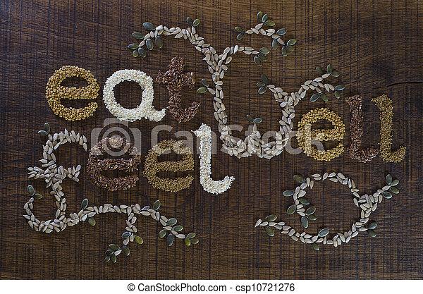 ser, 'eat, poço, escrito, sementes, well', frase, decorado - csp10721276