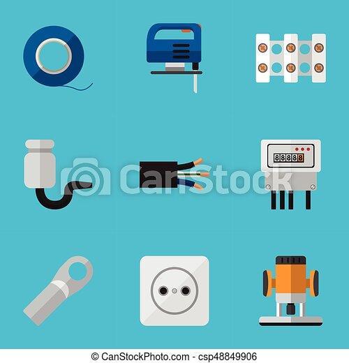 Un set de 9 iconos eléctricos editables. Incluye símbolos como alambre, rosado, corte y más. Puede usarse para web, móvil, UI y diseño gráfico. - csp48849906