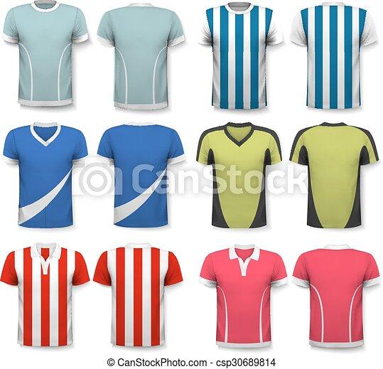 Colección de varias camisetas de fútbol. La camiseta es transparente y puede ser usada como plantilla con tu propio diseño. - csp30689814