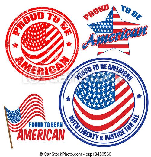 Orgullosos de ser americanos y sellos - csp13480560