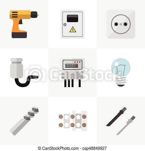 Un conjunto de 9 iconos de instrumentos editables. Incluye símbolos como Auger, destornillador, fretsaw y más. Puede usarse para web, móvil, UI y diseño gráfico. - csp48849927