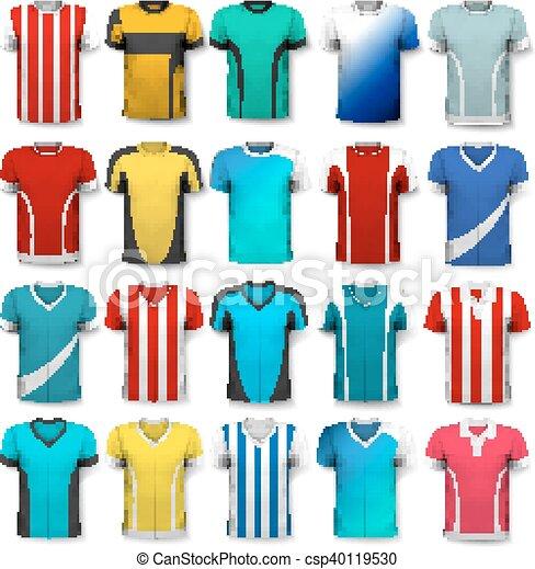 Colección de varias camisetas de fútbol. La camiseta es transparente y puede ser usada como plantilla con tu propio diseño. Vector - csp40119530
