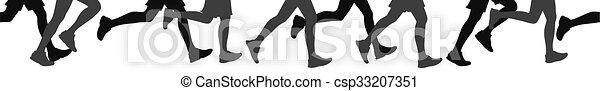 La gente que corre, también puede ser usada como panorámica continua - csp33207351