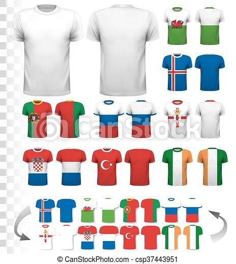 Colección de varias camisetas de fútbol. La camiseta es transparente y puede ser usada como plantilla con tu propio diseño. Vector. - csp37443951