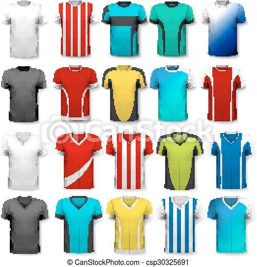 Colección de varias camisetas de fútbol. La camiseta es transparente y puede ser usada como plantilla con tu propio diseño. Vector. - csp30325691