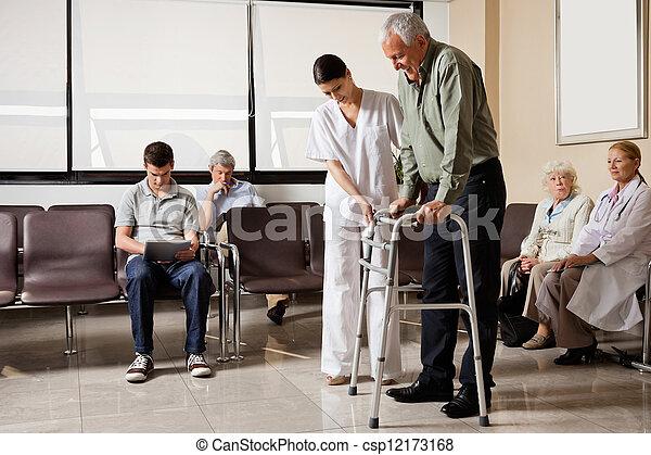Ser, zimmer, caminata, ayudado, enfermera, marco, hombre. Gente, ser ...