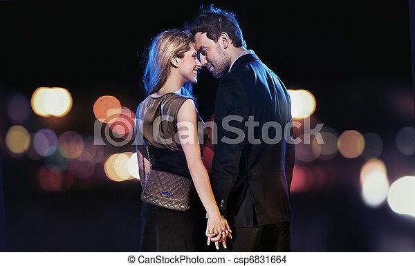 sera, coppia, giovane, elegante, concettuale, ritratto, vestiti - csp6831664