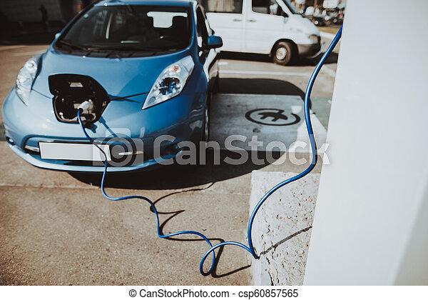 serbatoio, tesla, automobile, concept., carica, automobile, vista. - csp60857565