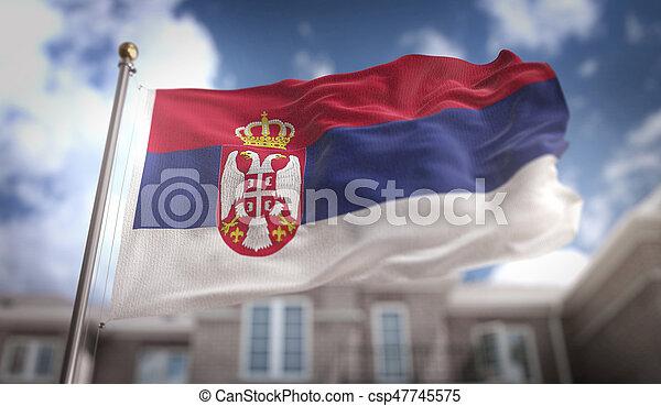 Serbia Flag 3D Rendering on Blue Sky Building Background - csp47745575