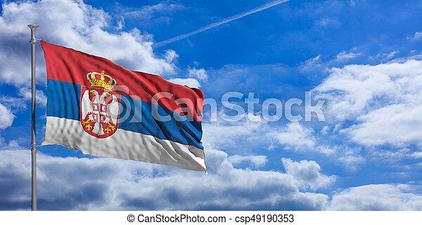 Serbia waving flag on blue sky. 3d illustration - csp49190353
