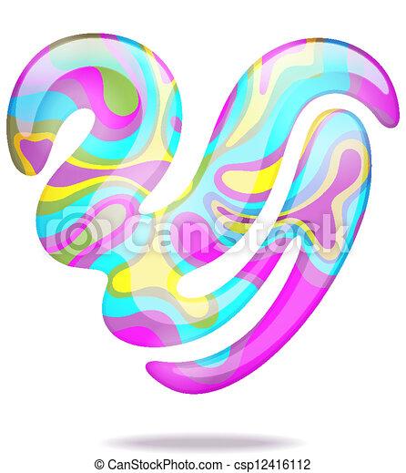 serce, abstrakcyjny, 3d - csp12416112