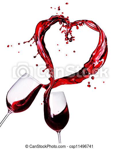 serce, abstrakcyjny, dwa, bryzg, wino, czerwony, okulary - csp11496741