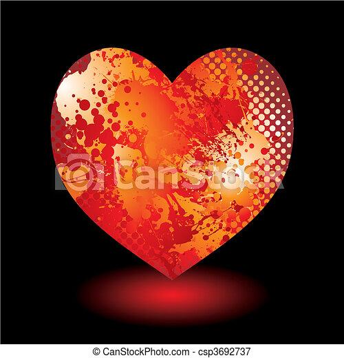 serce, grunge, splat - csp3692737
