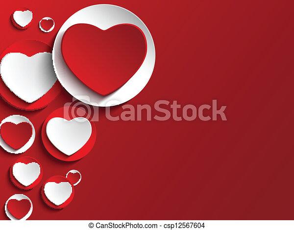 serce, guzik, biały, dzień, valentine - csp12567604