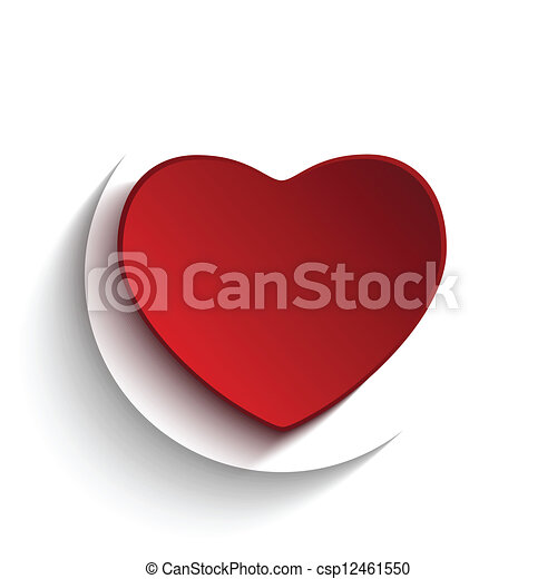 serce, guzik, biały, dzień, valentine - csp12461550