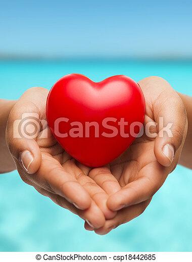 serce, kobietki, pokaz, cupped ręki, czerwony - csp18442685