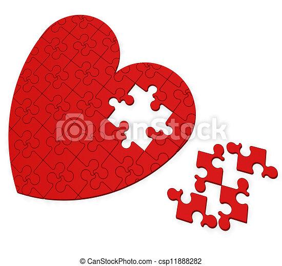 serce, niedokończony, valentine, zagadka, dzień, widać - csp11888282