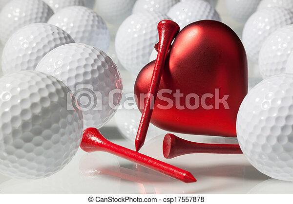 serce, piłki, golf, czerwony, dużo - csp17557878