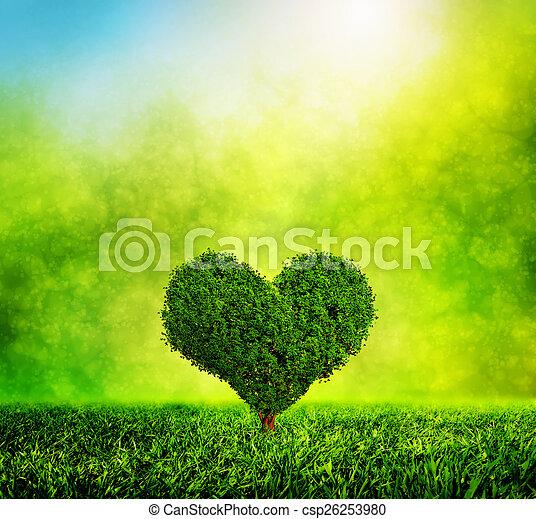 serce postało, natura, miłość, drzewo, środowisko, grass., zielony, rozwój - csp26253980