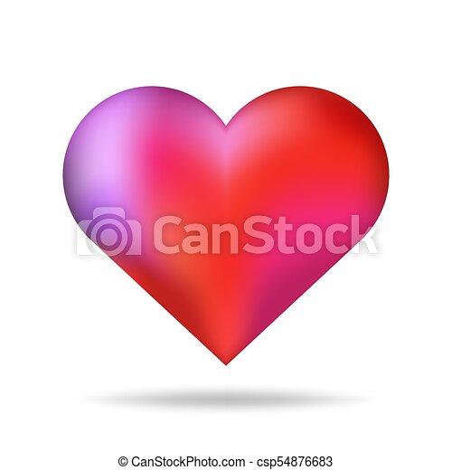 serce, romantyk, shadow., odizolowany, valentine, formułować, wektor, czerwone tło, błyszczący, dzień, element., 3d - csp54876683
