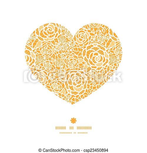 serce, sylwetka, koronka, złoty, próbka, ułożyć, róże, wektor - csp23450894
