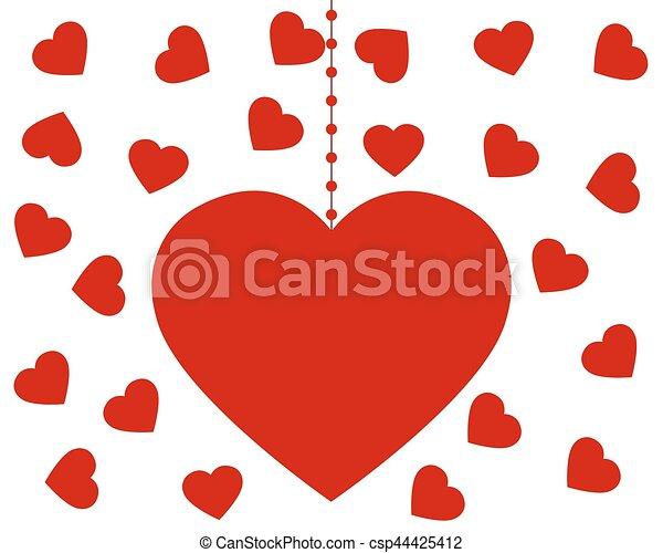 serce, valentine, s, tło, biały, dzień - csp44425412