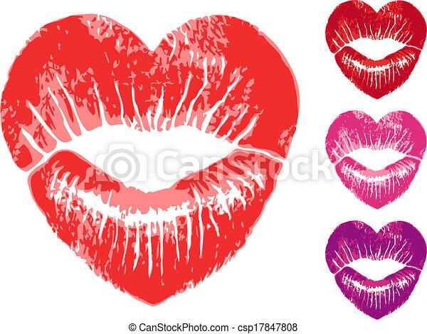 serce, wektor, komplet, usteczka, czerwony - csp17847808